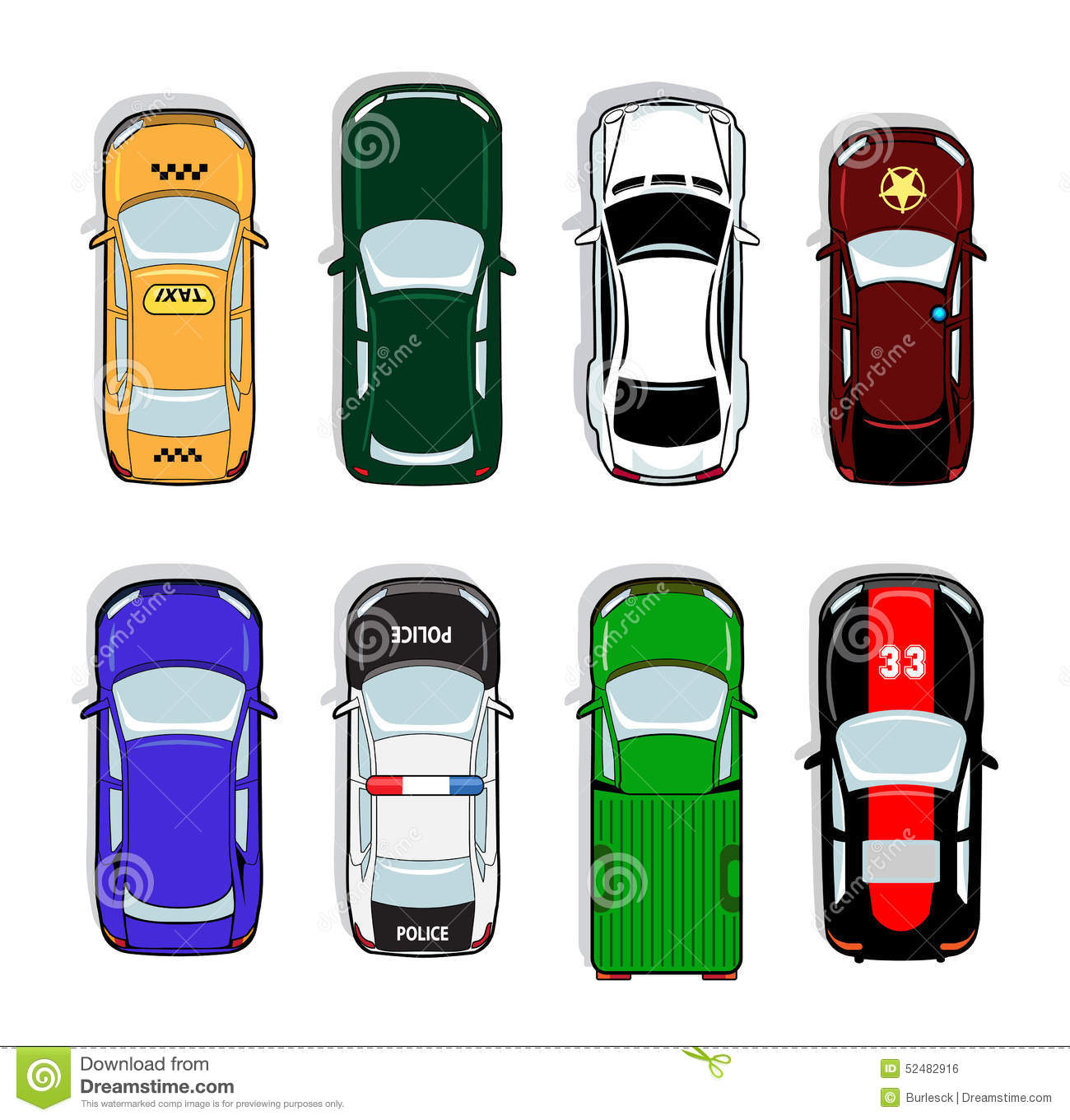 Police Car And Taxi, Sports Sedan Icons Stock Vector