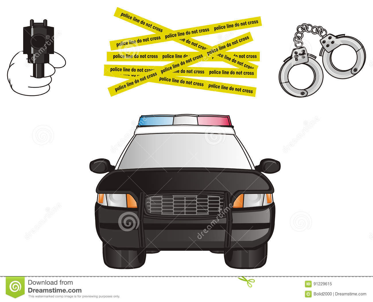 Police Car And Three Symbols Stock Illustration Illustration Of