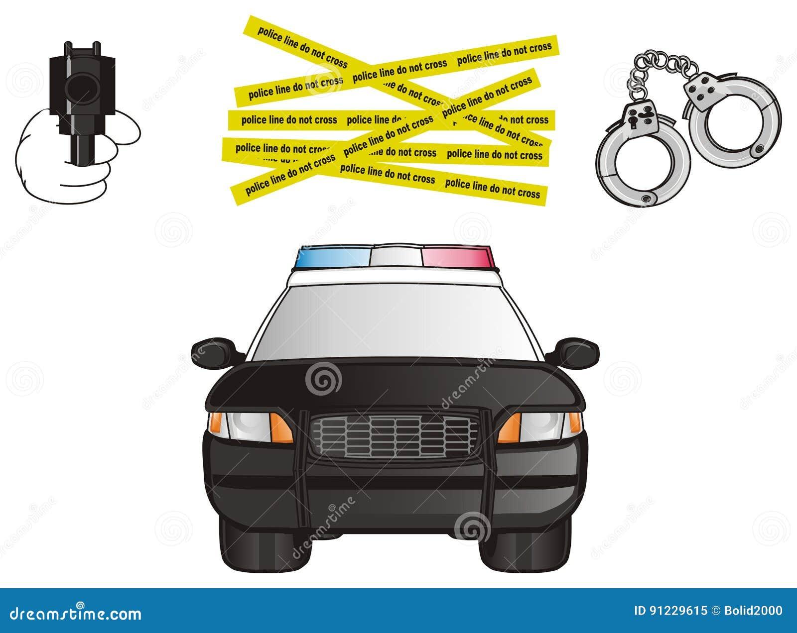Police Car And Three Symbols Stock Illustration Illustration Of