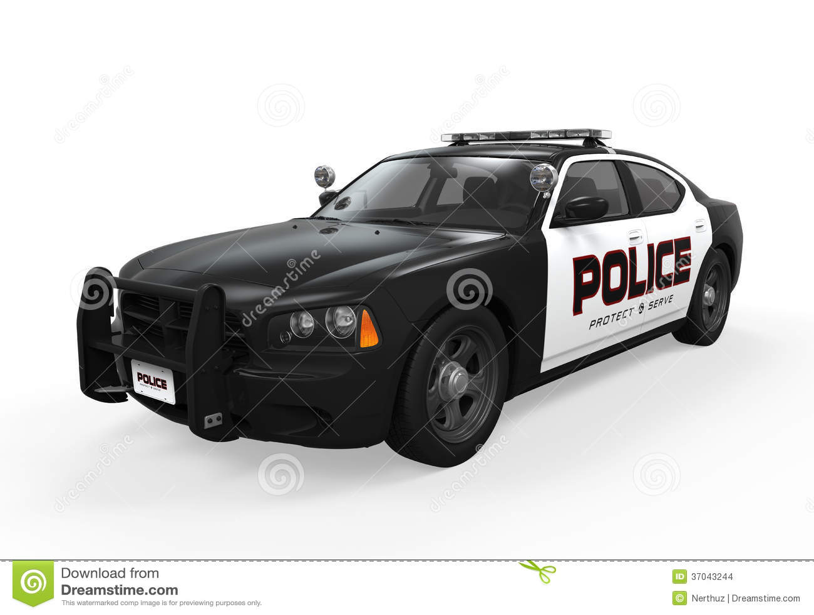 Police Car on white background. 3D render.