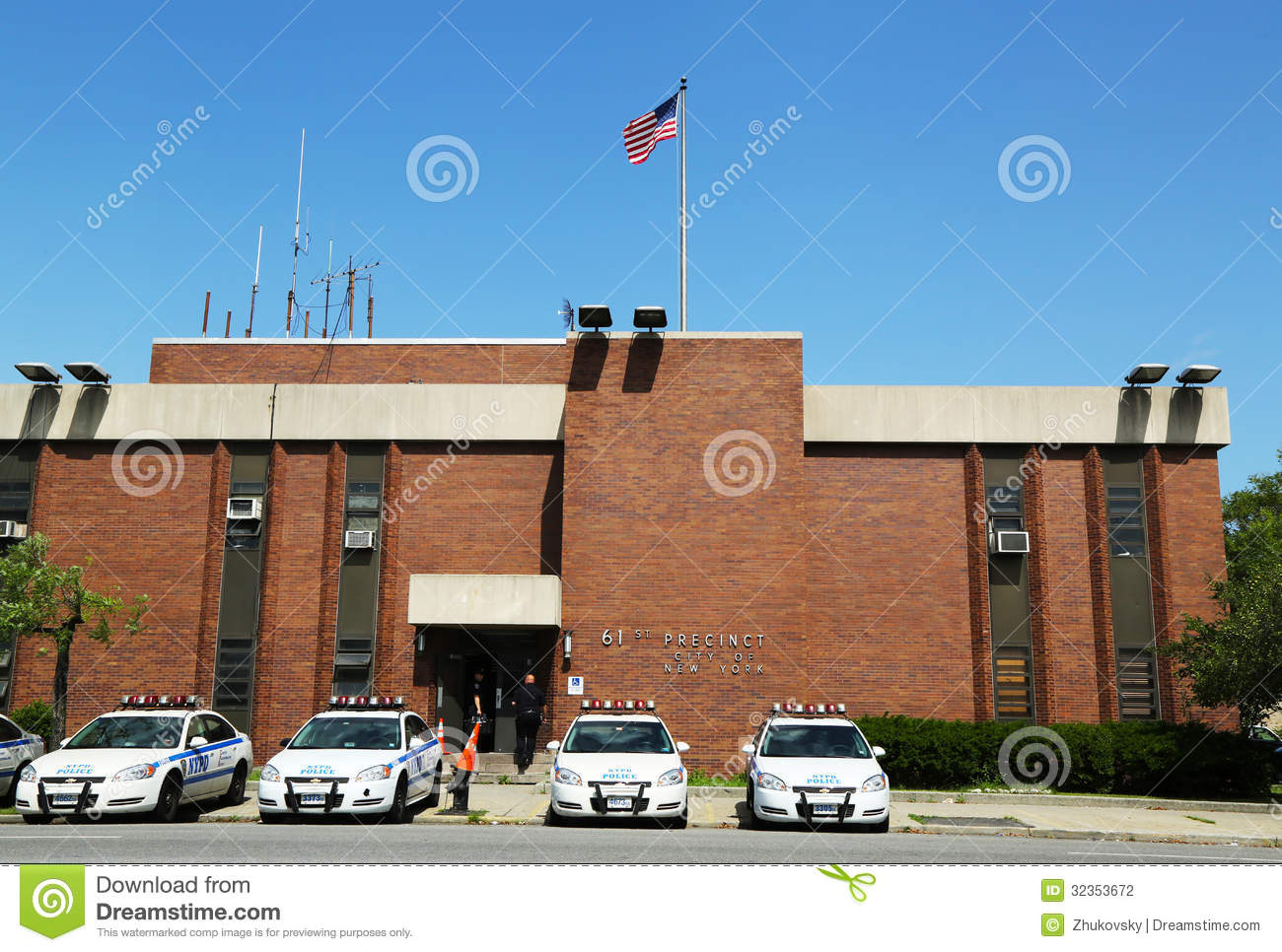 police cars in the front of nypd 61st precinct in brooklyn ny editorial photography image. Black Bedroom Furniture Sets. Home Design Ideas