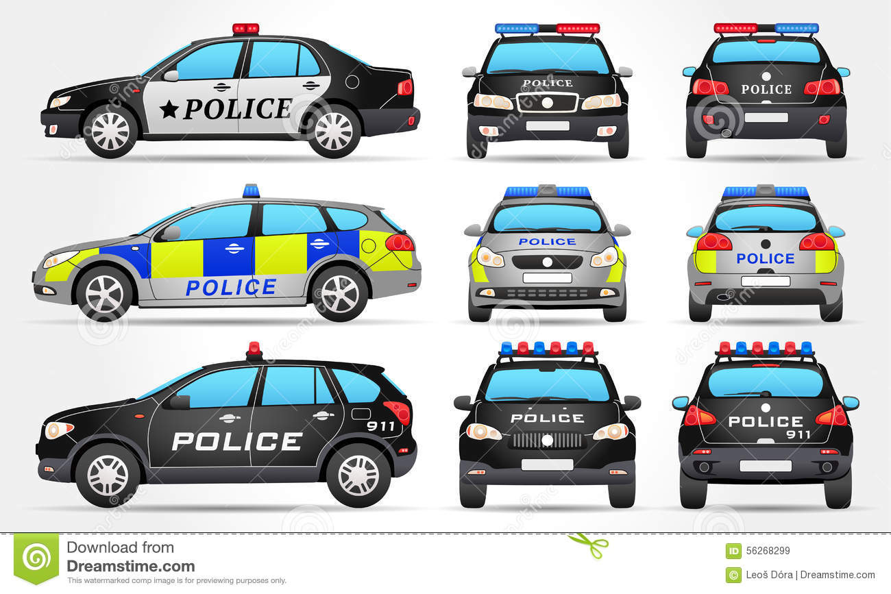 Police Car Far Back View Royalty Free Stock Photo