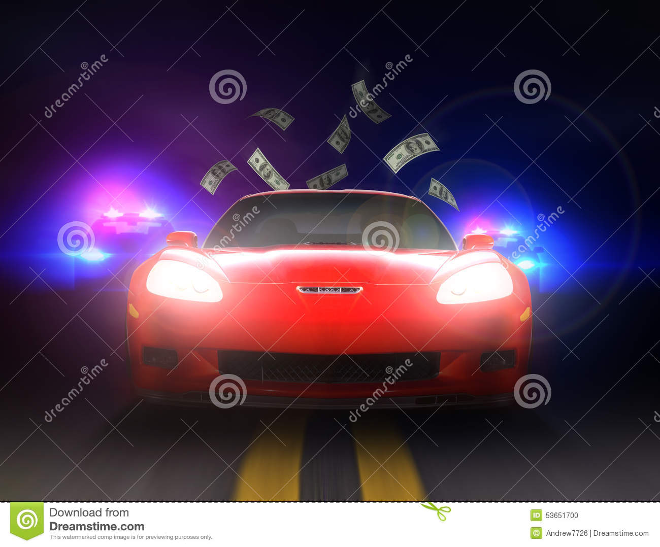 police car cop pursuit in night blue red light stock image 81216919. Black Bedroom Furniture Sets. Home Design Ideas