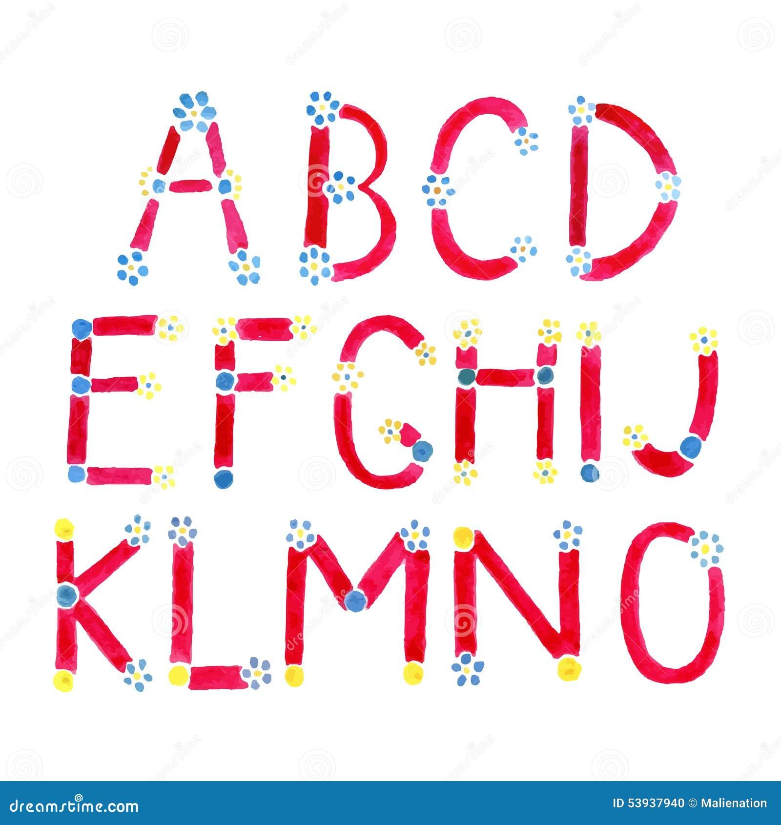 Police Daquarelle Alphabet Tiré Par La Main Lettres Daquarelle