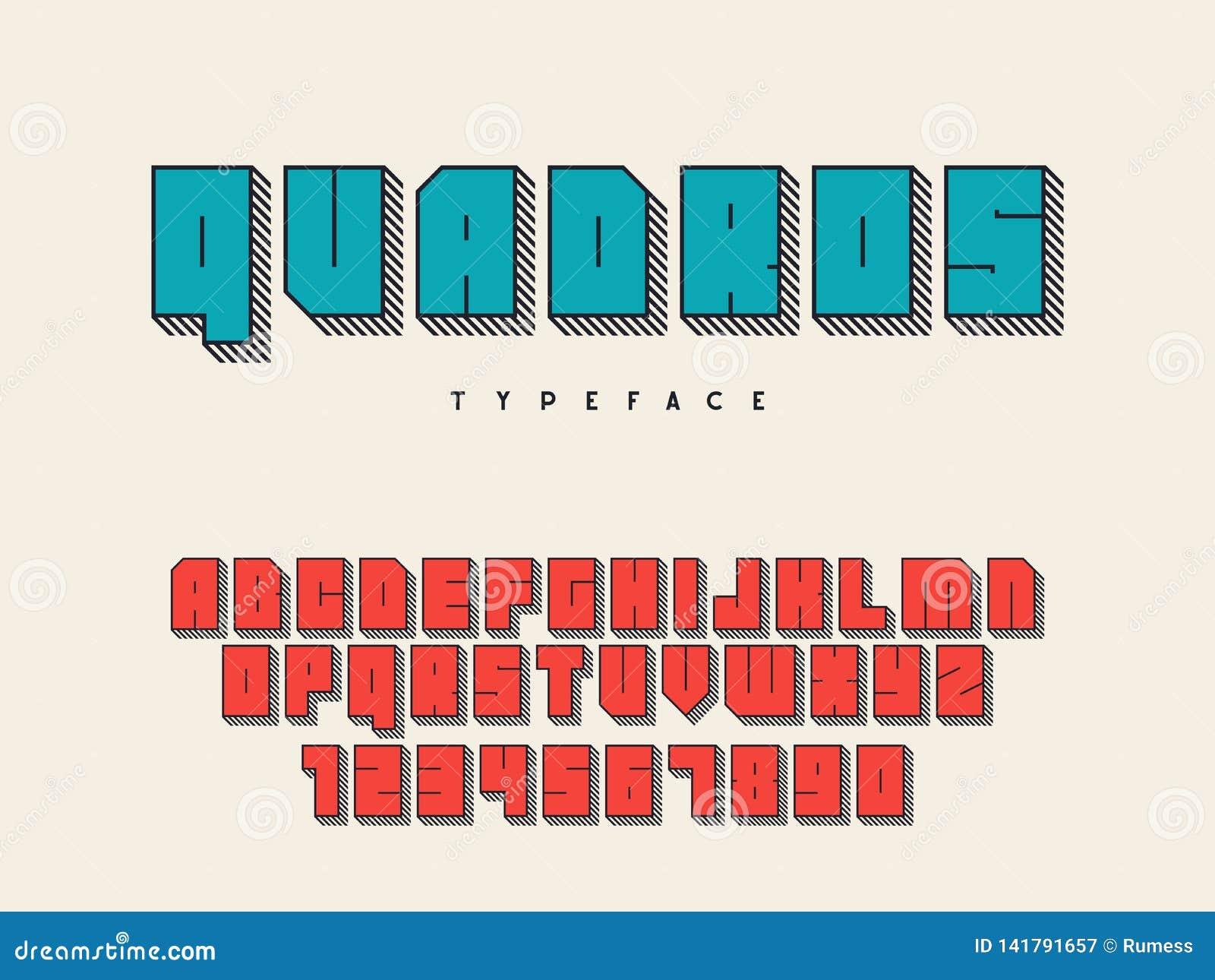 Police de bloc carré Lettres et nombres d alphabet latin fonte 3D Illustration de vecteur