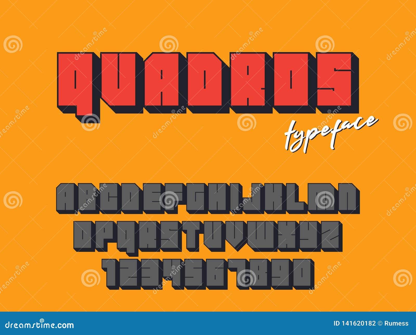 Police de bloc carré de vecteur Lettres et nombres d alphabet latin fonte 3D