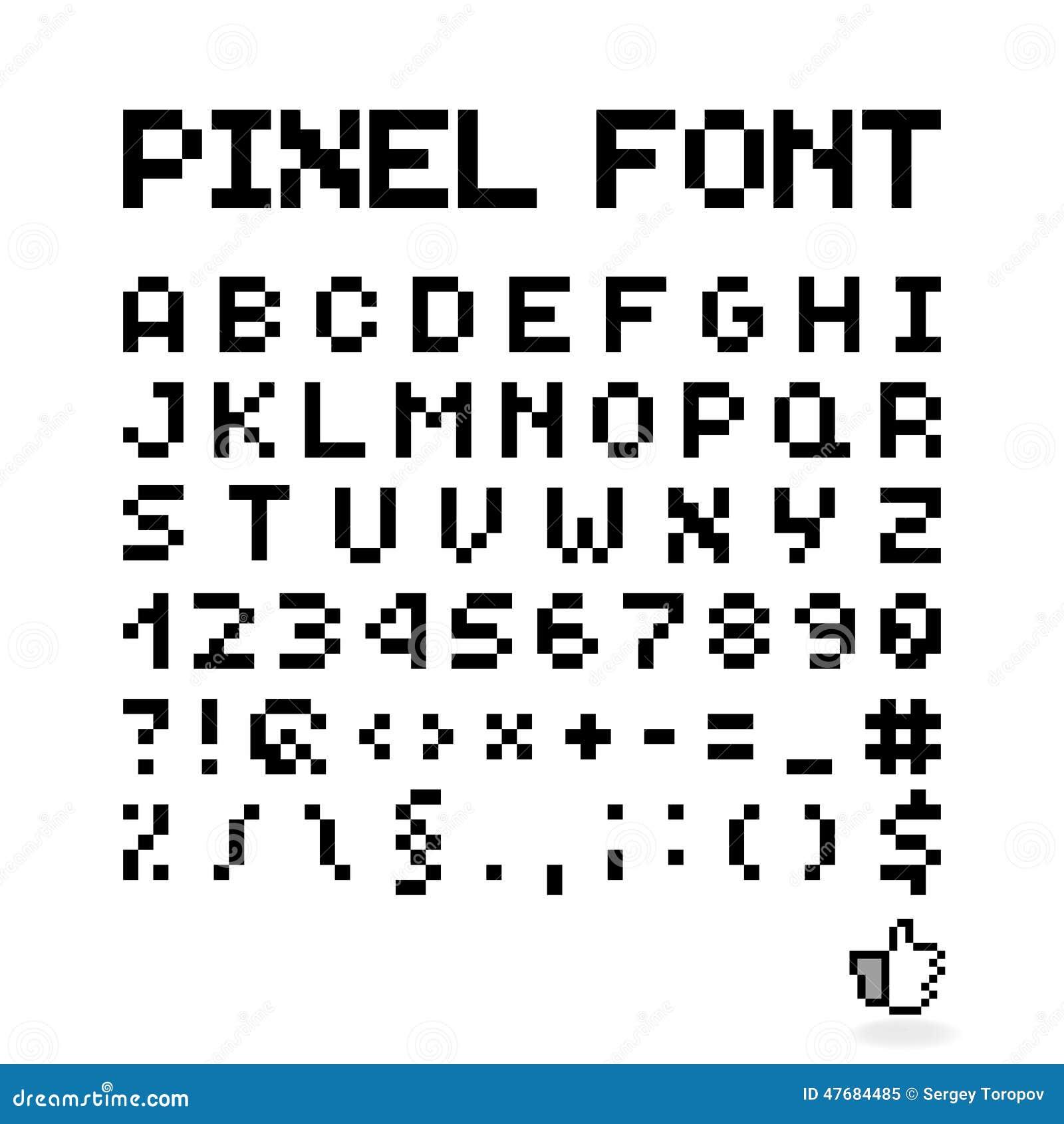 Police De Pixel, Lettres D'isolement De Vecteur, Alphabet