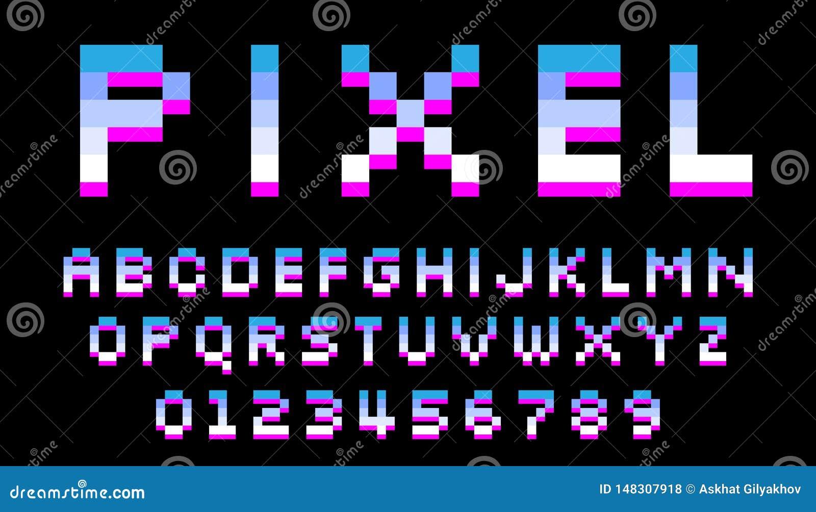 Police de pixel 8 lettres et nombres de bit