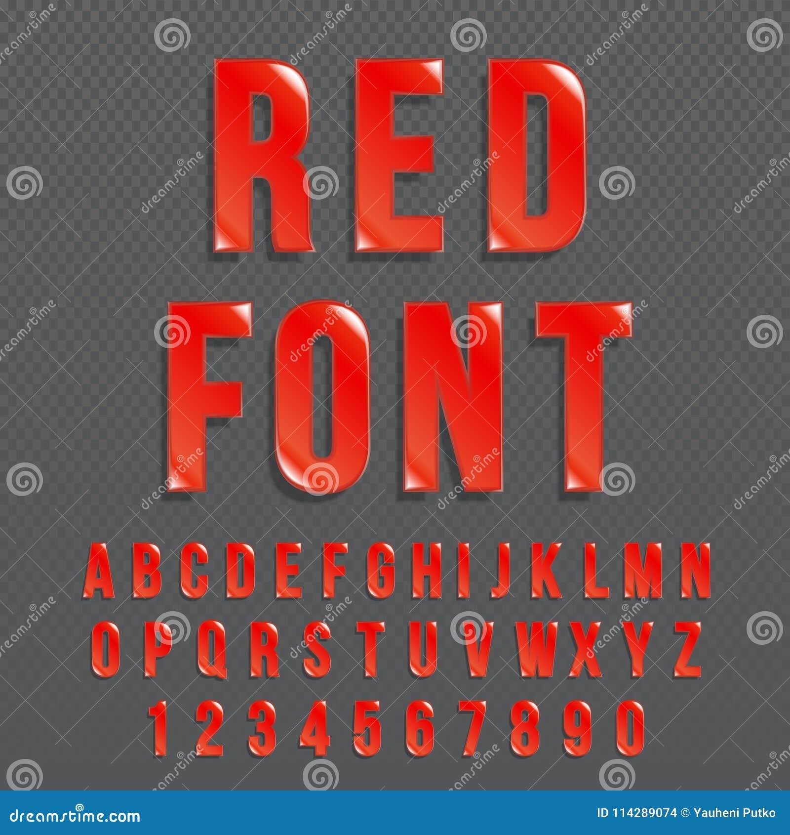 Police de vecteur brillante rouge ou alphabet rouge Oeil d un caractère coloré par rouge Illustration typographique d alphabet co