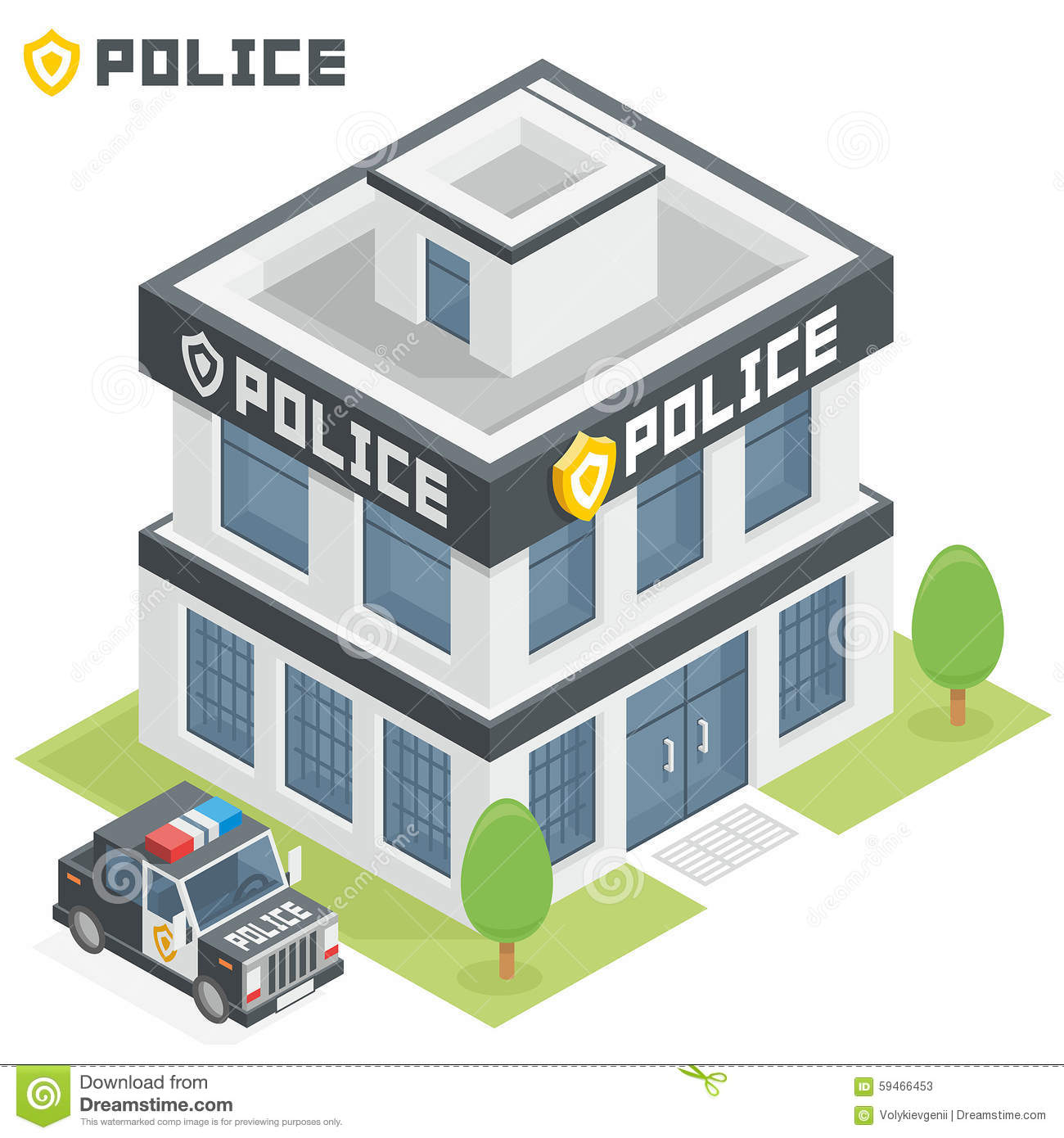 Police department building stock vector. Illustration of ...