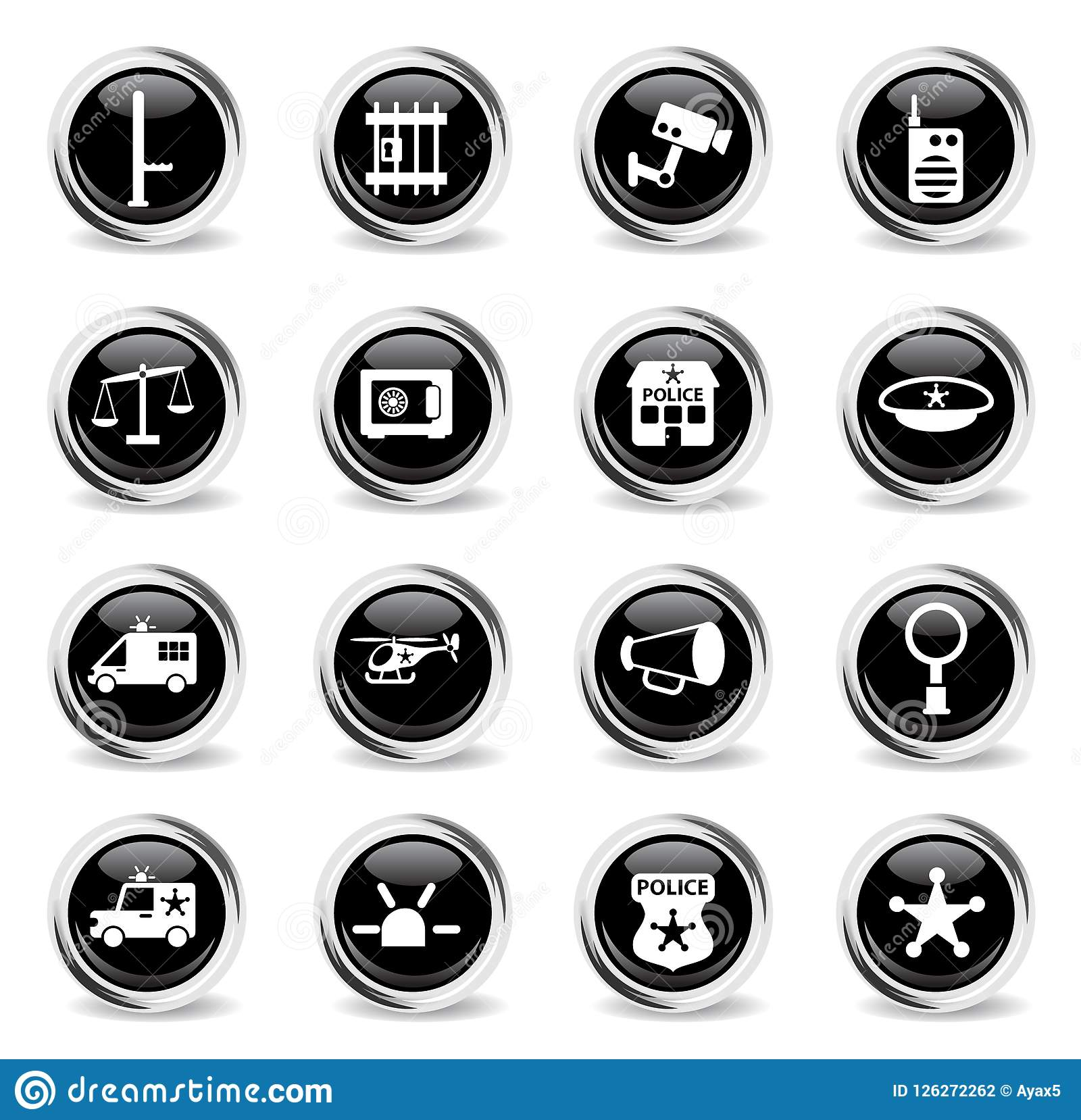 Police department icon set stock vector  Illustration of