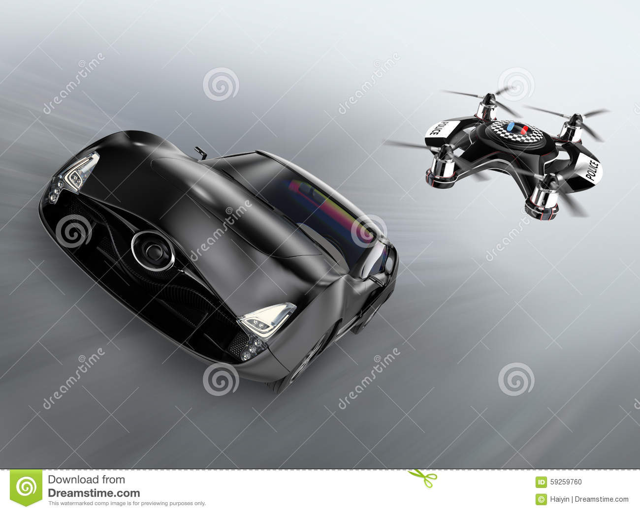 Police Drone Chasing Black Car For Speed Over Stock