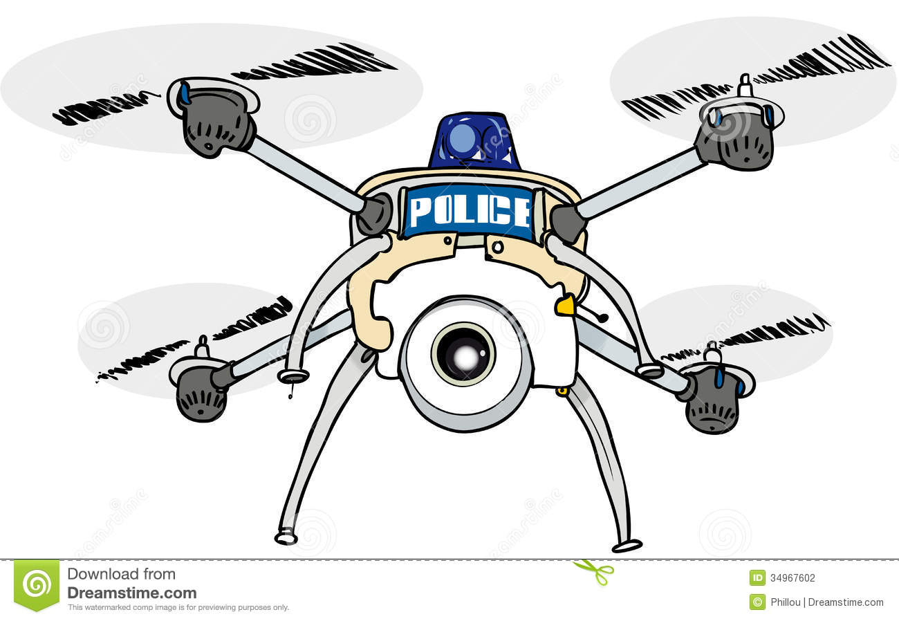 Police Drone Stock Vector Image Of Unmanned Micro Quadcopter