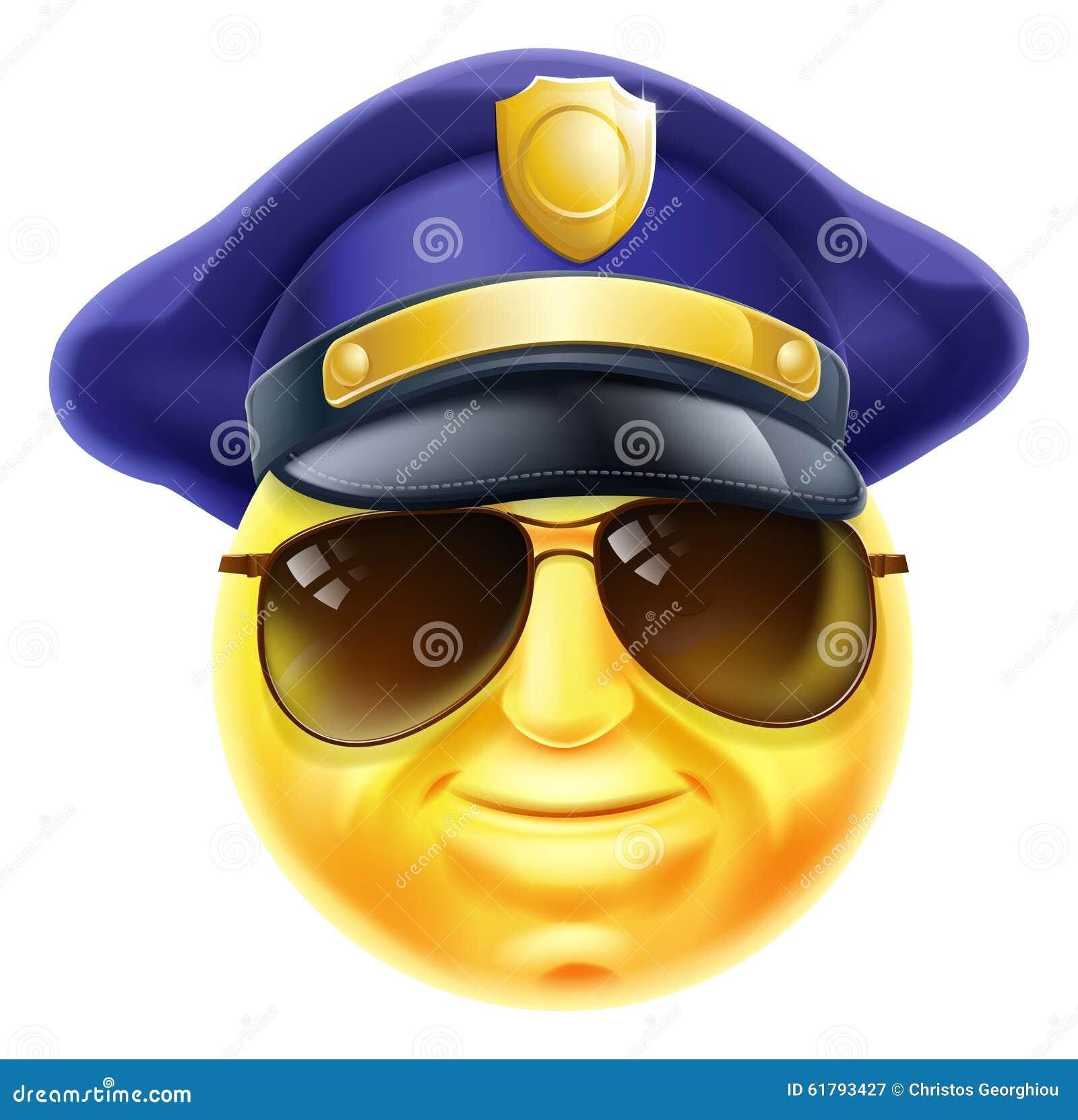 An emoji emoticon smiley face police man, policeman or security guard ...