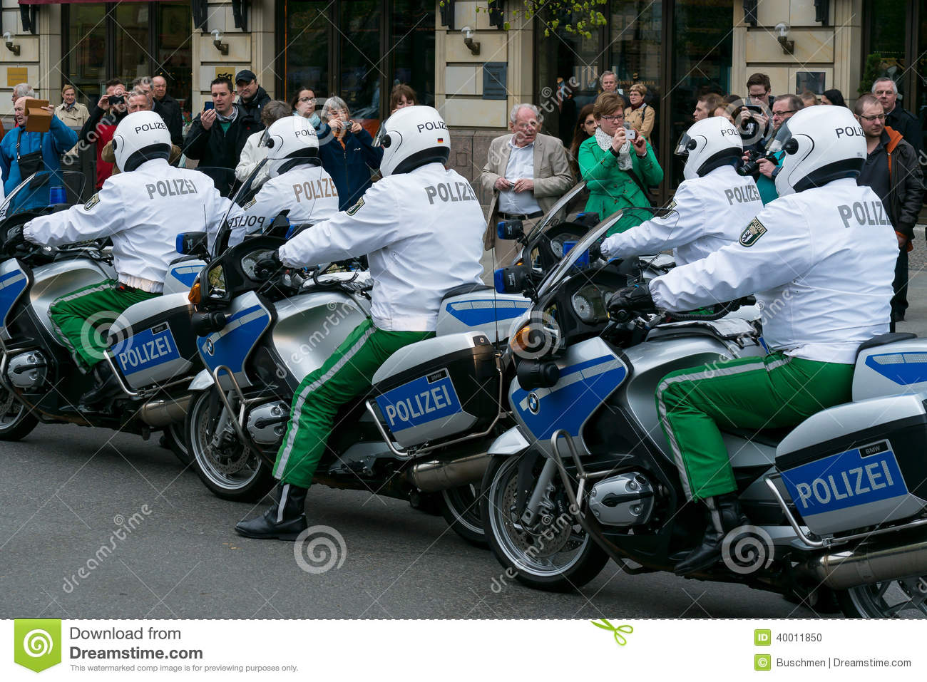 Berlin Germany April 11 2014 Police Escort On Motorcycles Ensuring The Safety Of Vips