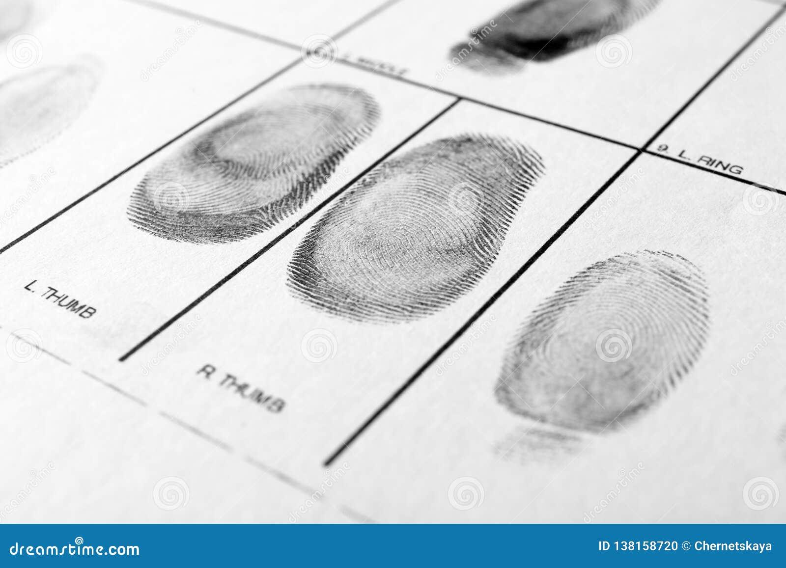 Police Form With Fingerprints Forensic Examination Stock Photo Image Of Detective Fingerprint 138158720