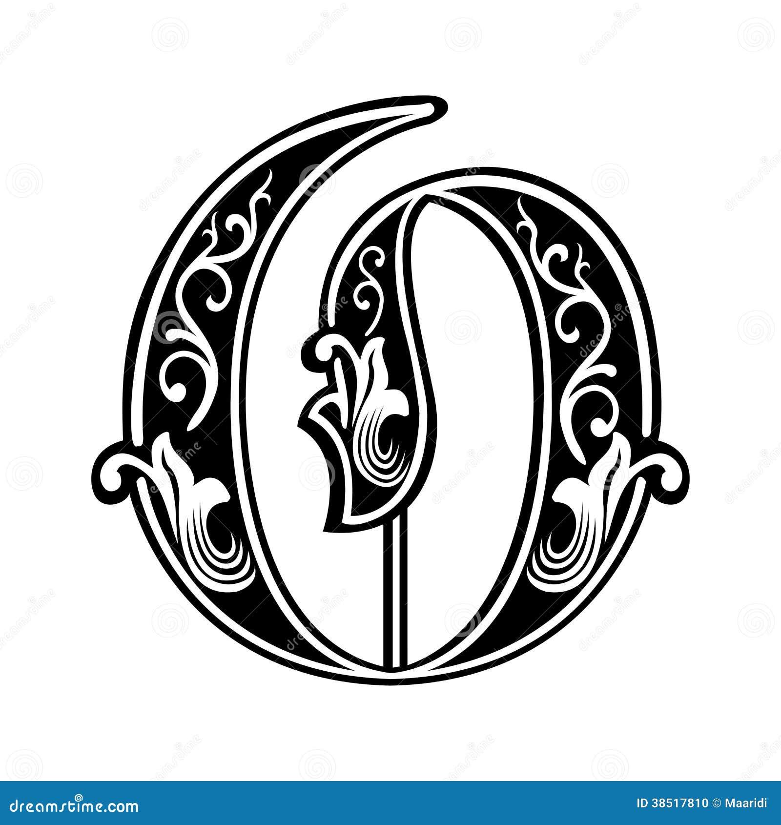 police gothique garnie de style  lettre o illustration de