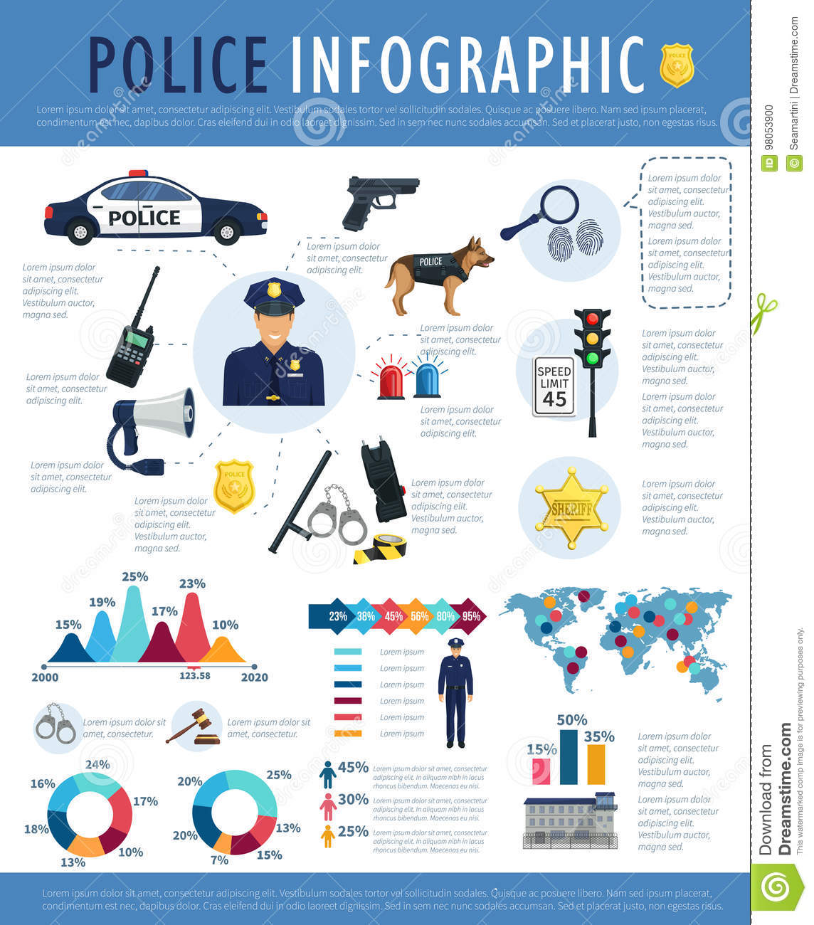 Police Infographic For Crime Law Justice Design Stock Vector
