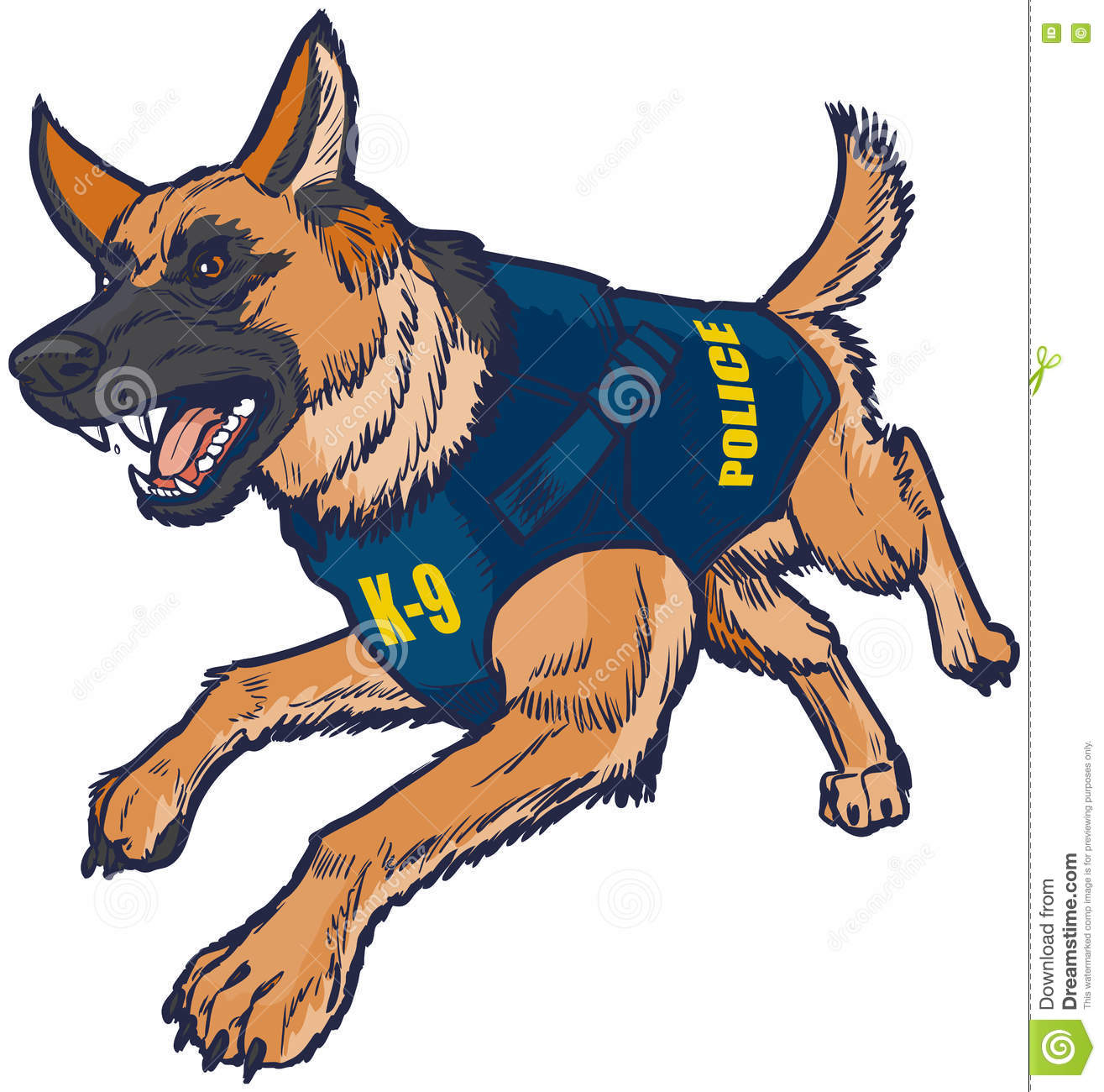 Police K9 German Shepherd Dog With Bulletproof Vest Illustration ...