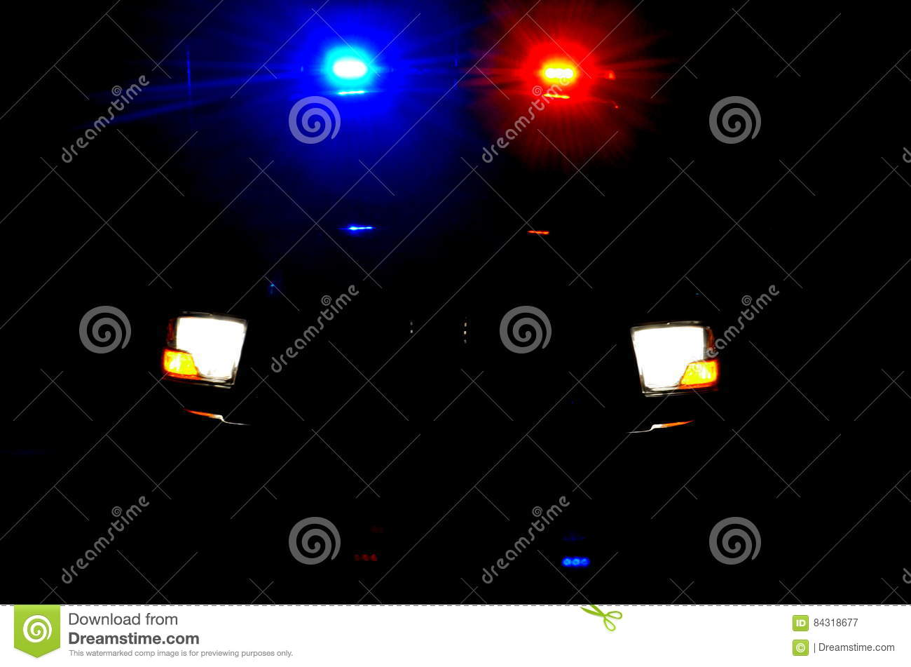 Police lights during the night