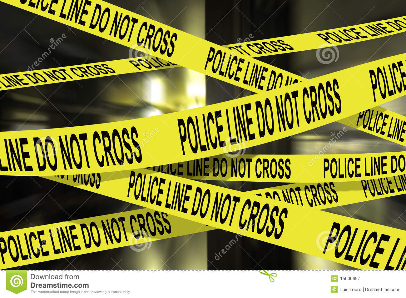 Background image of several police line do not cross yellow tape.