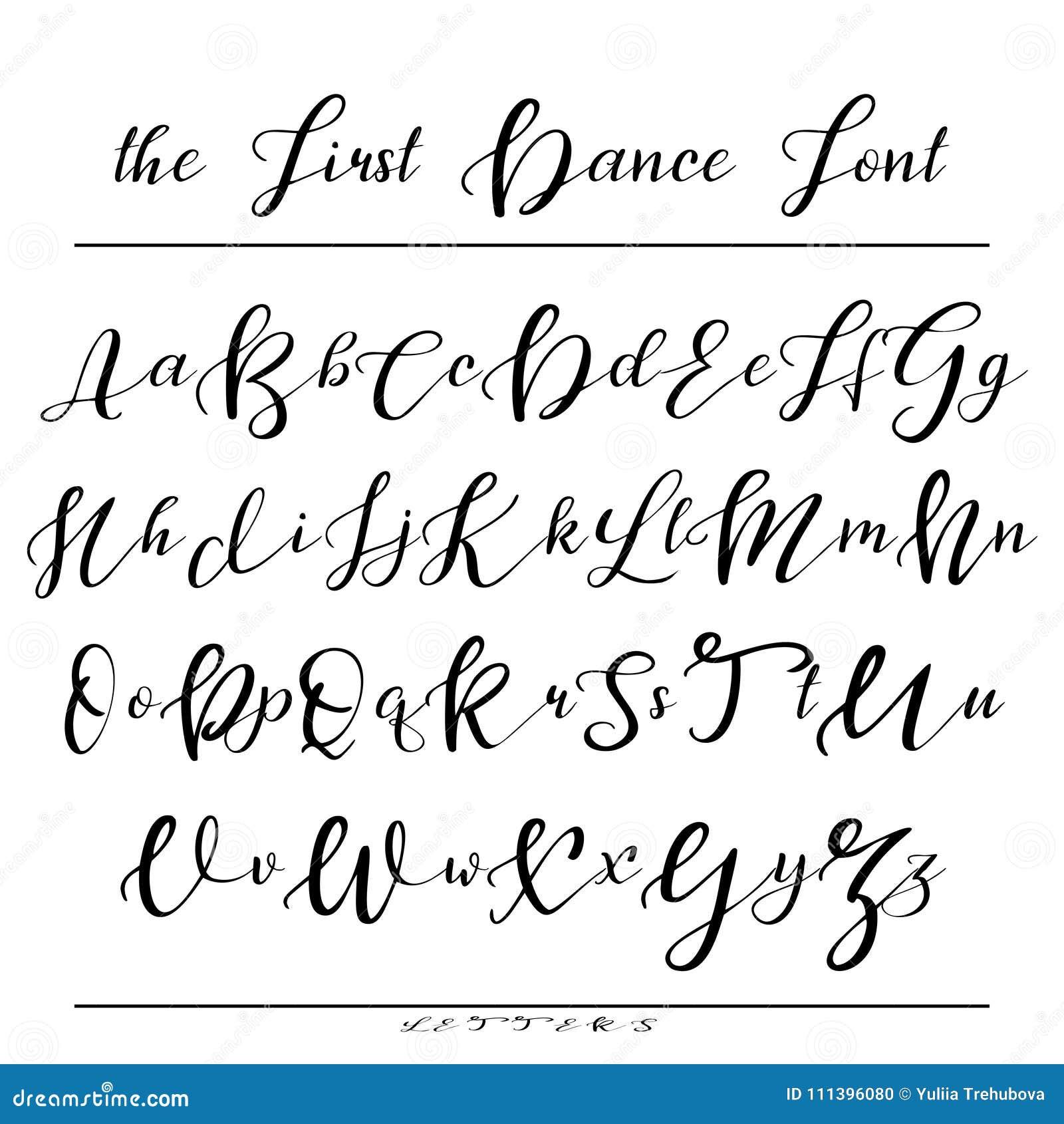 Alphabet Calligraphie Gratuit police manuscrite de calligraphie alphabet de vecteur lettres tirées
