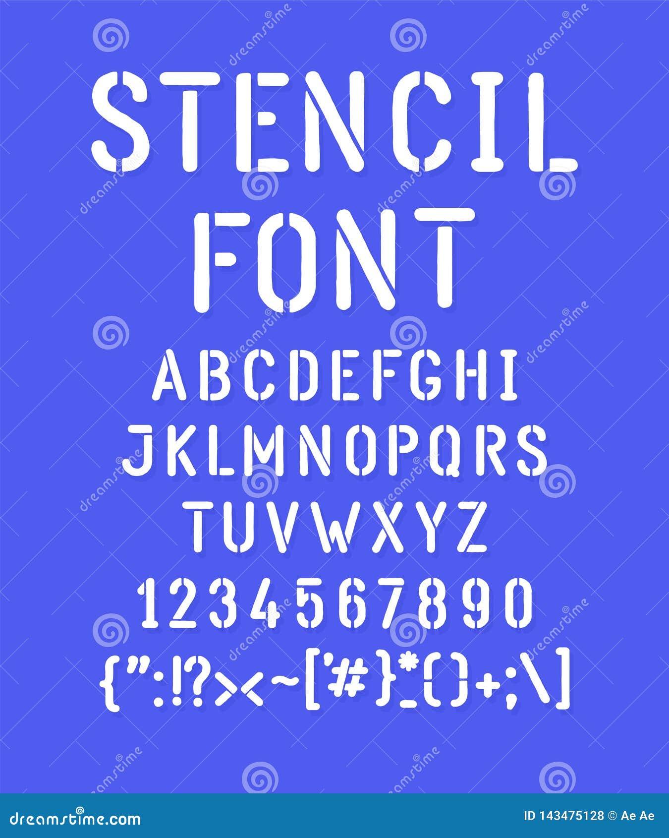 Police marquée au poncif blanche Vecteur Toutes les lettres sont séparément Un ensemble de lettres, alphabet anglais en entier Ca