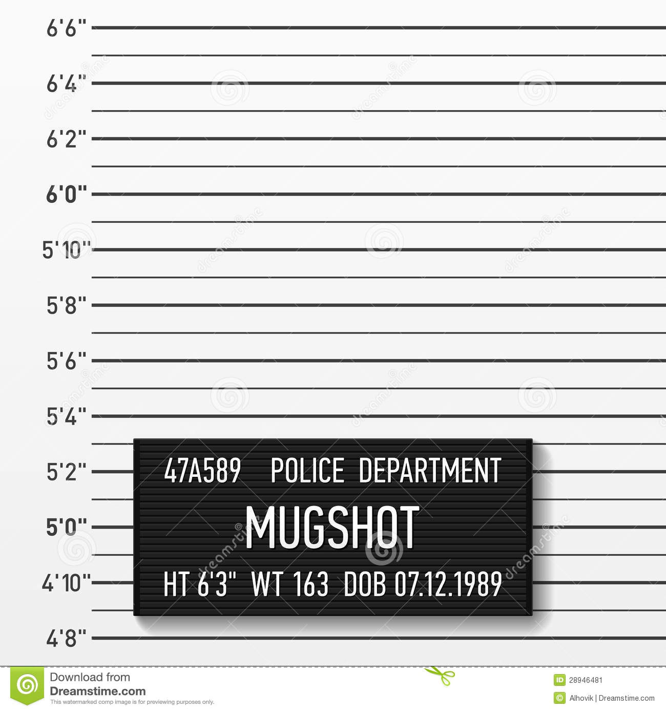 Police mugshot vector illustration. Add a photo.