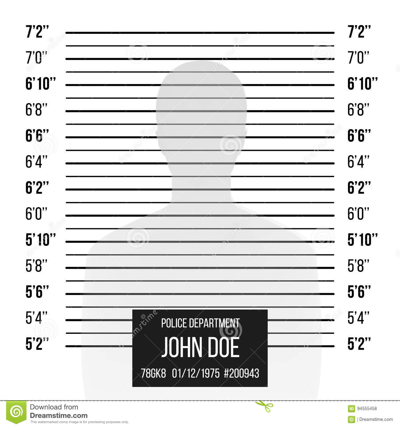 police mugshot vector police lineup isolated on white