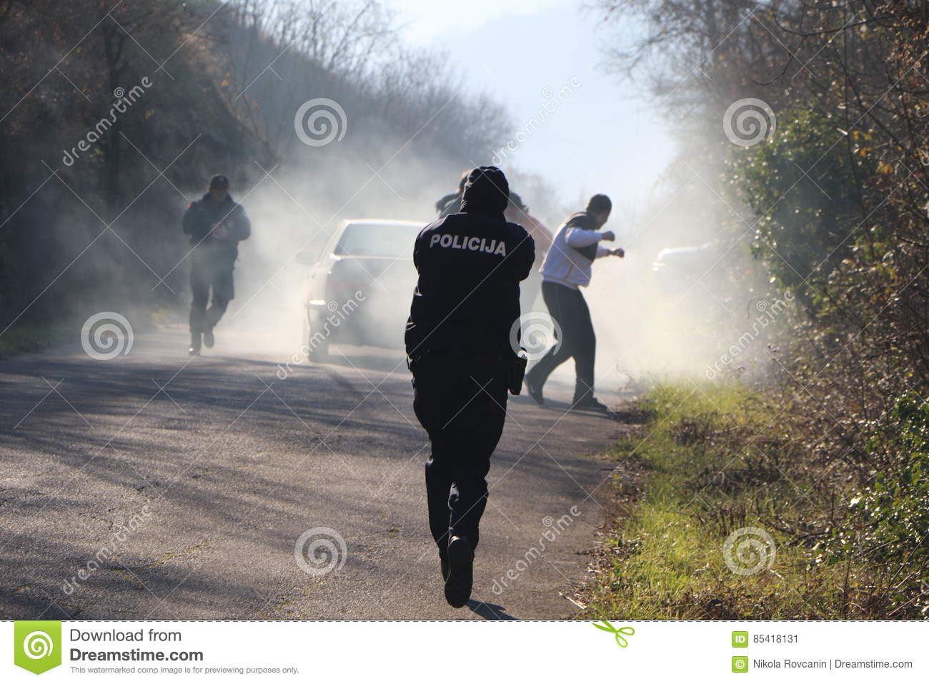 Police officer in action