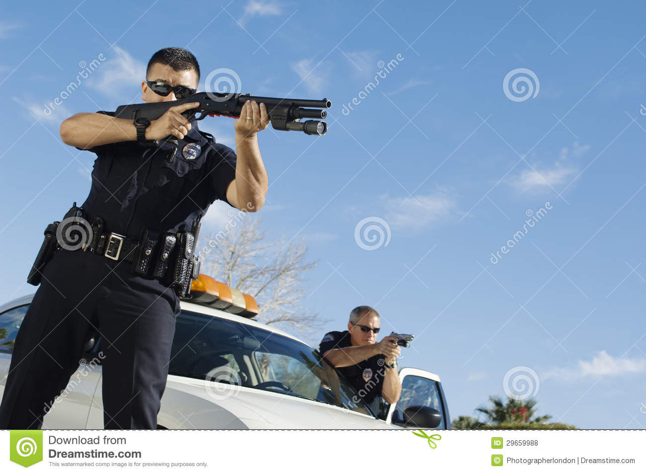 Police Officer Aiming Shotgun Royalty Free Stock Photos ...
