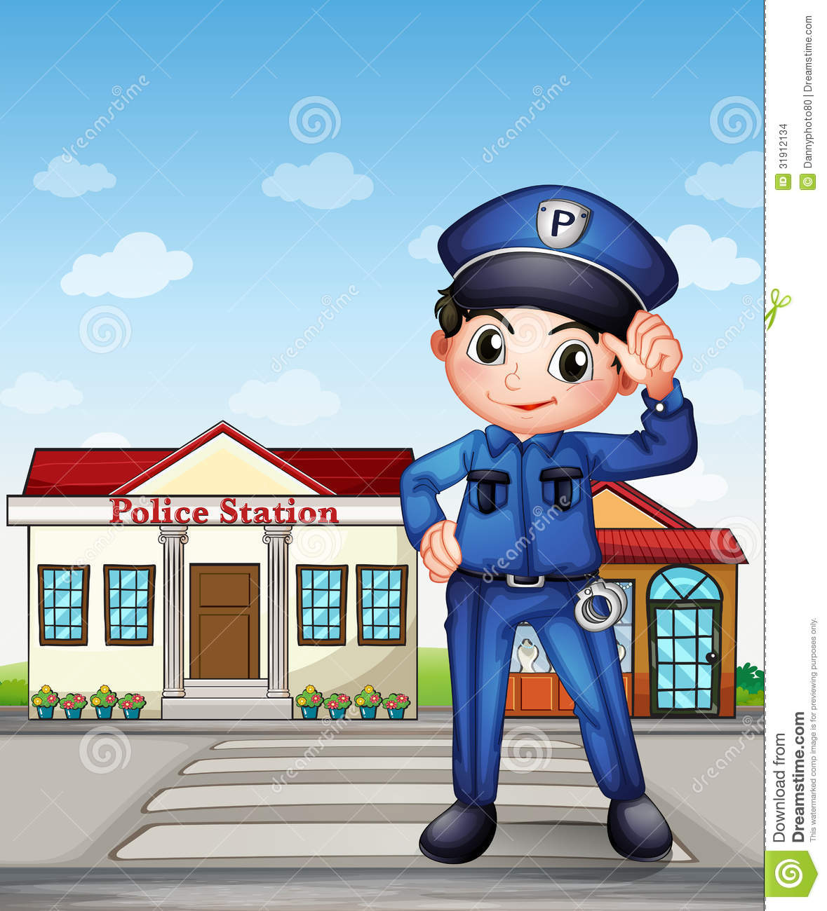 A Police Officer In Front Of A Police Station Stock Vector