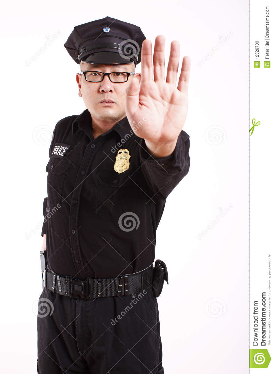 Police Officer Gesturing To Stop Stock Photo Image 12328780