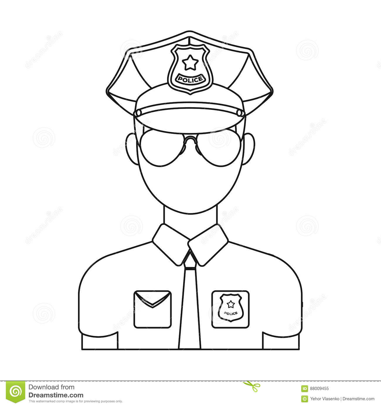 police officer icon in outline style isolated on white background