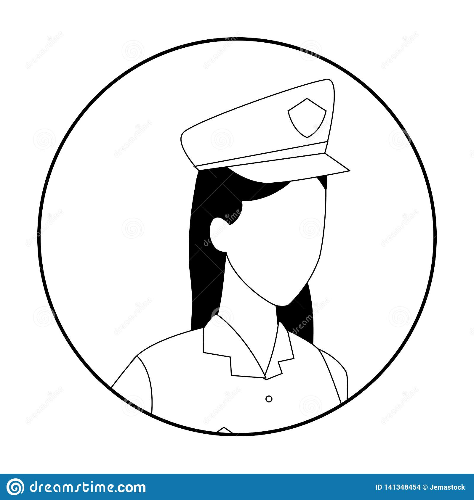 Police Officer Jobs And Professions Avatar In Black And