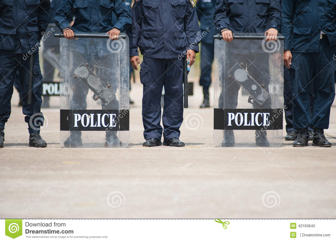 Police officer in a protective