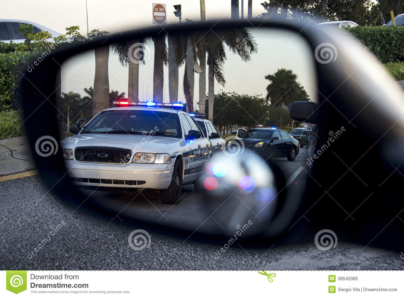 Police On Rear View Mirror Stock Image Image Of Pursuit