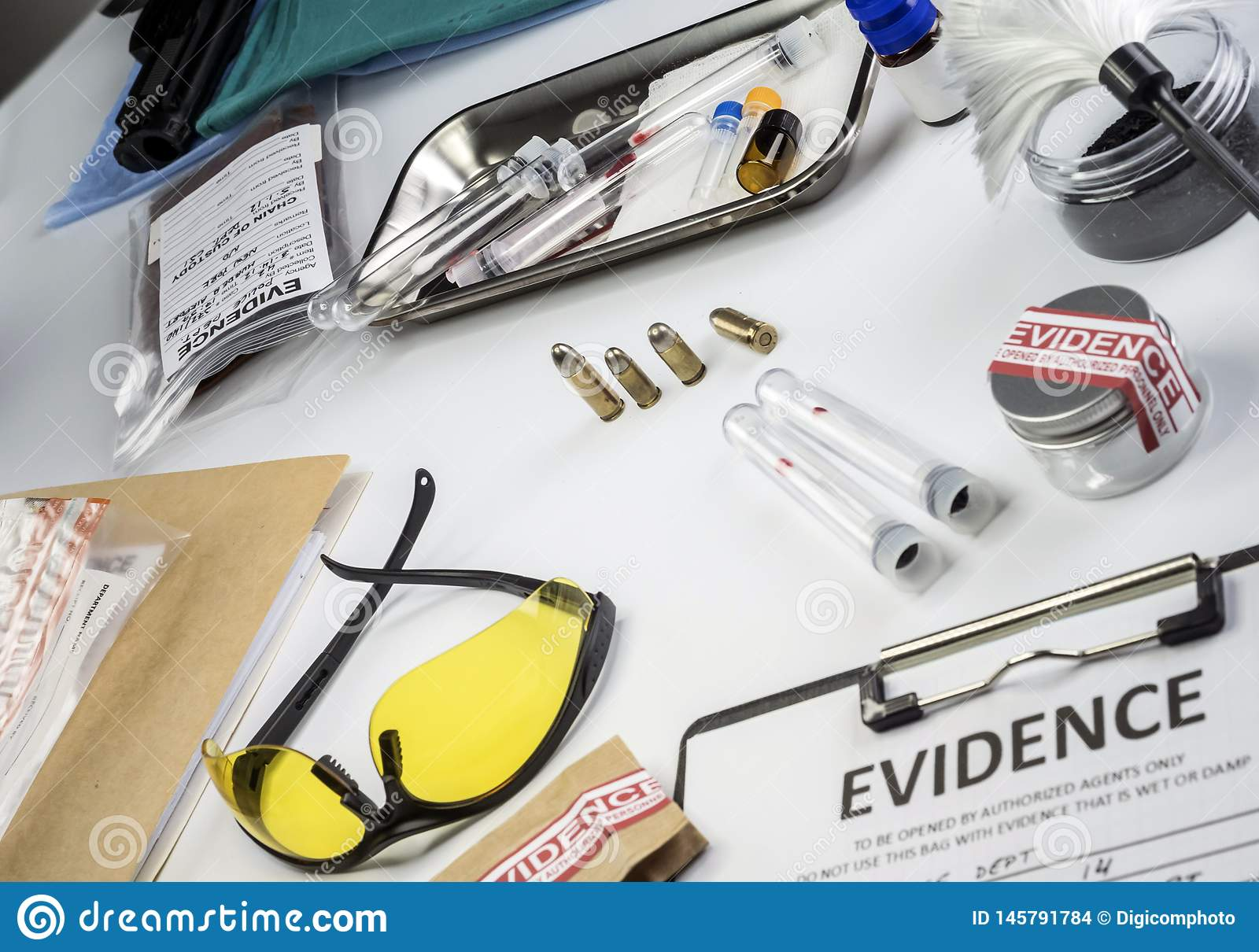 Police Record Along With Some Forensic Evidence Of Murder At Laboratorio Forensic Equipment Stock Photo Image Of Fingerprint Case 145791784