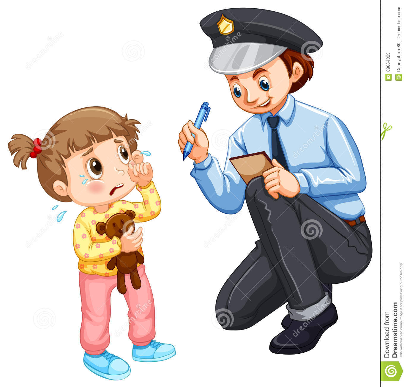 police recording lost child stock vector image 68664323 bee clipart panda bees clip art free