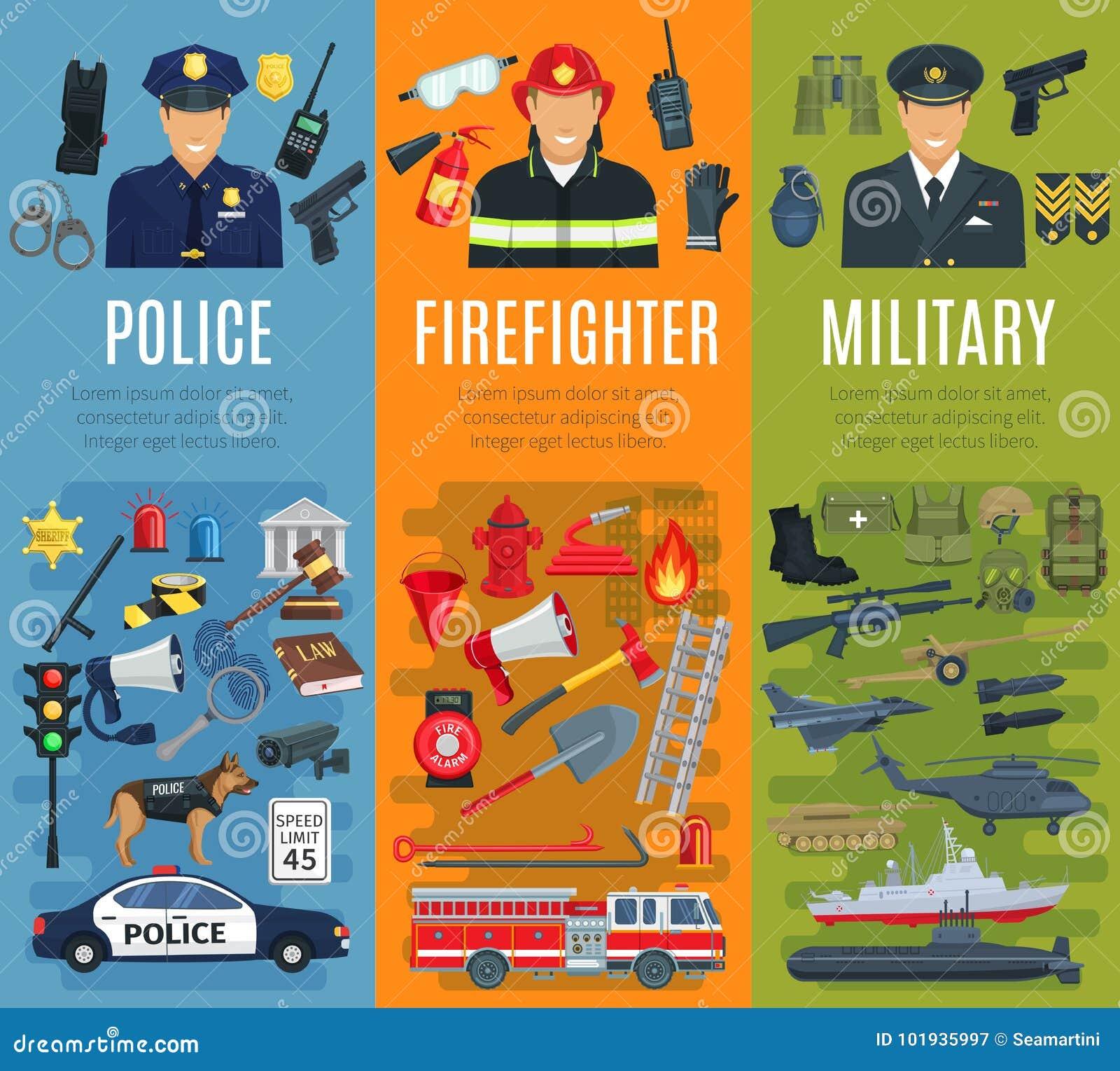 Police, sapeur-pompier et bannière militaire de profession