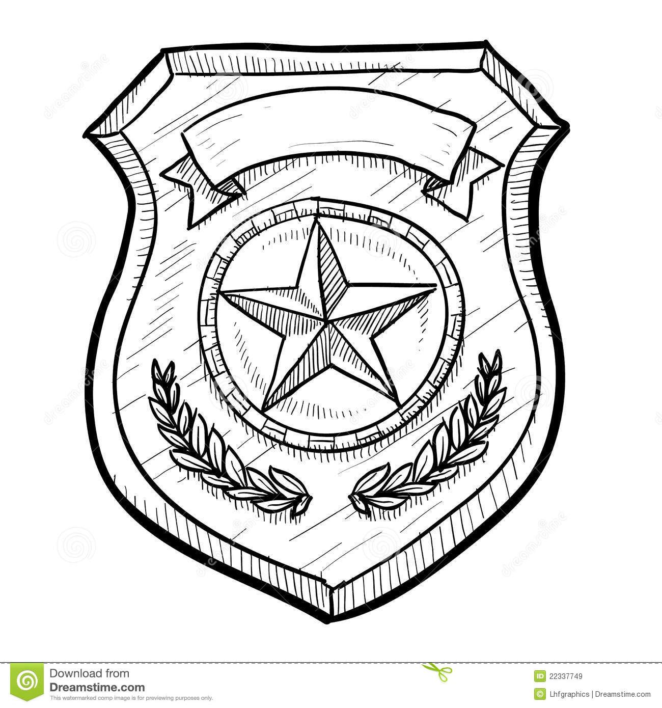 Doodle style police or firefighters badge vector illustration with ...