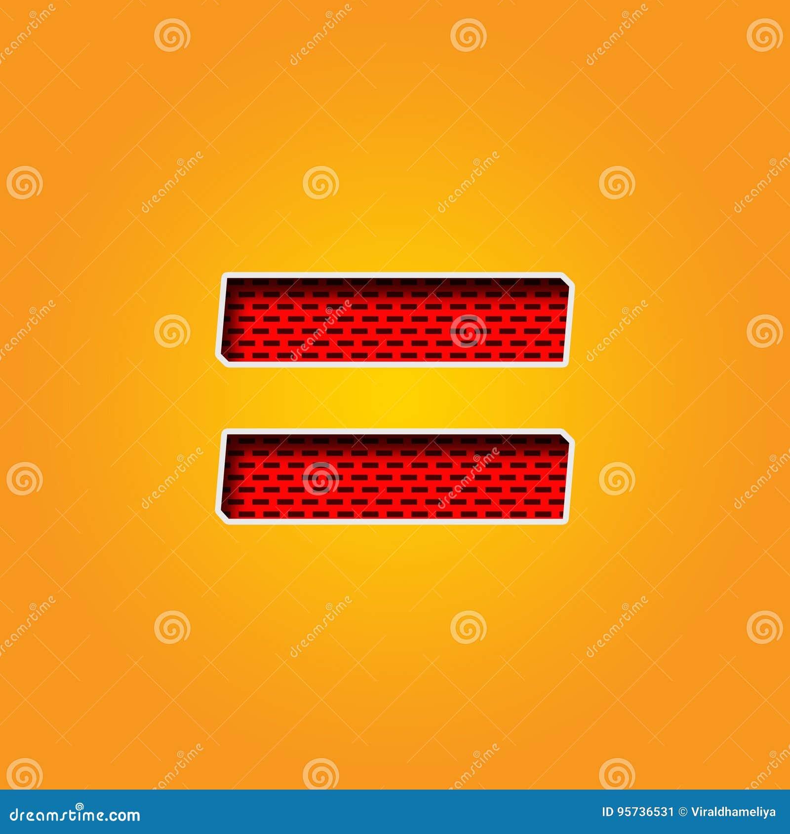 Police simple de caractère = de signe d égalité dans l alphabet orange et jaune de couleur