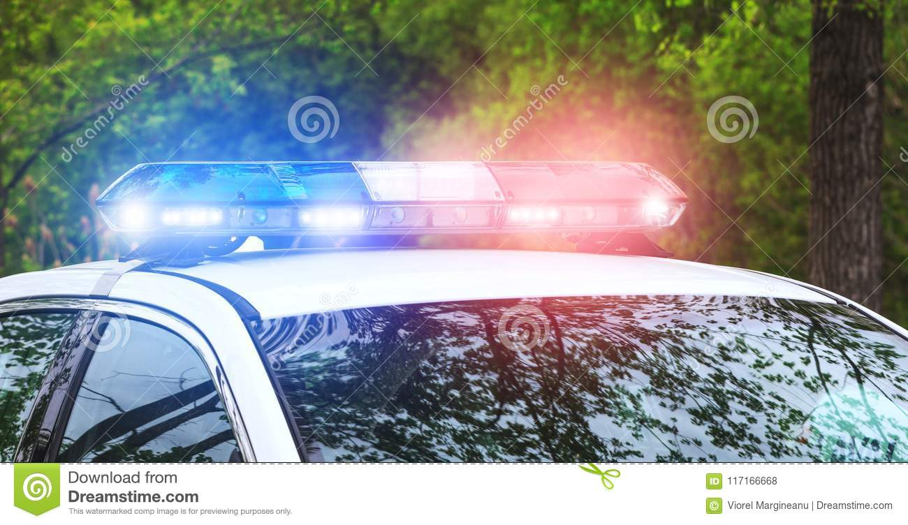Police sirens in operation. Blue and red flash lights of emergency car in action. Police crew with the siren lights on emergency