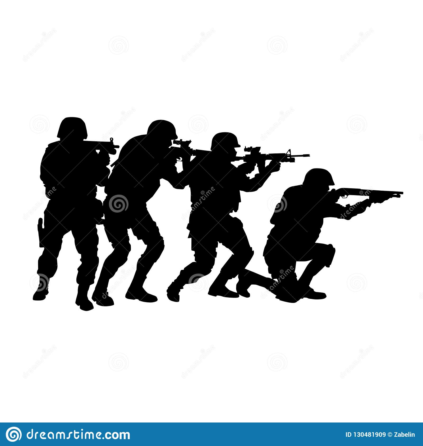 SWAT team in stack formation vector silhouette
