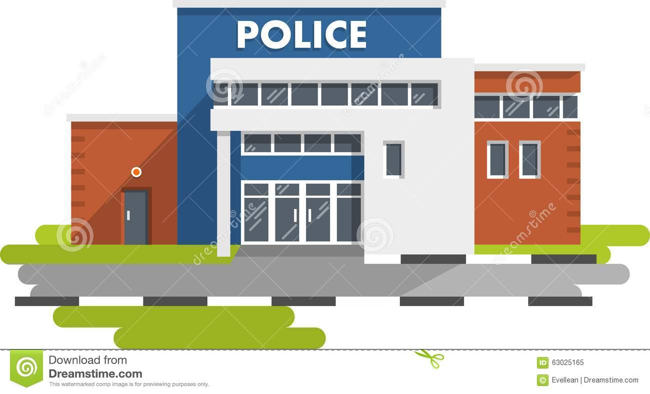 police-station-building-white-background-city-department-flat-style ...