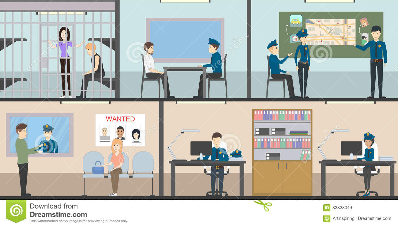 Police station interior set stock vector image 83823049 Receiving room interior design