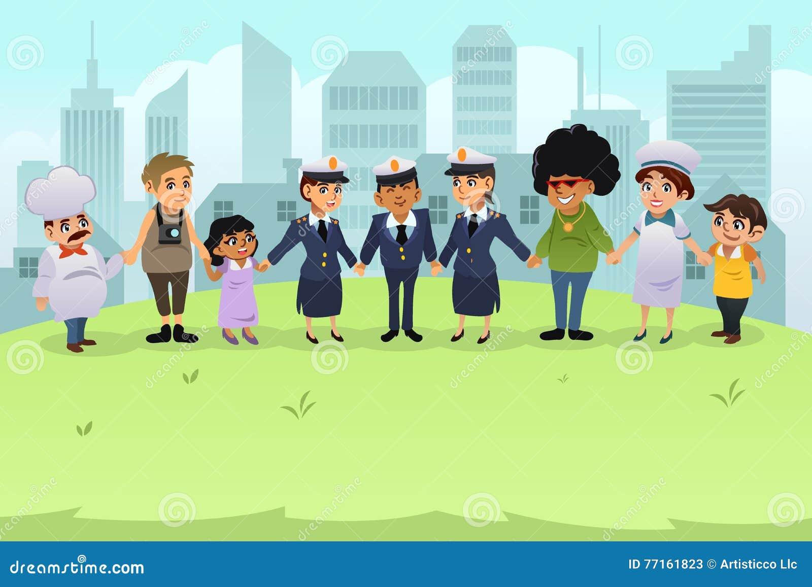 Police tenant des mains avec des citoyens