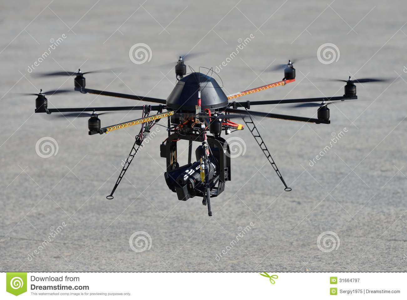police unmanned helicopter  uav  with a camera for