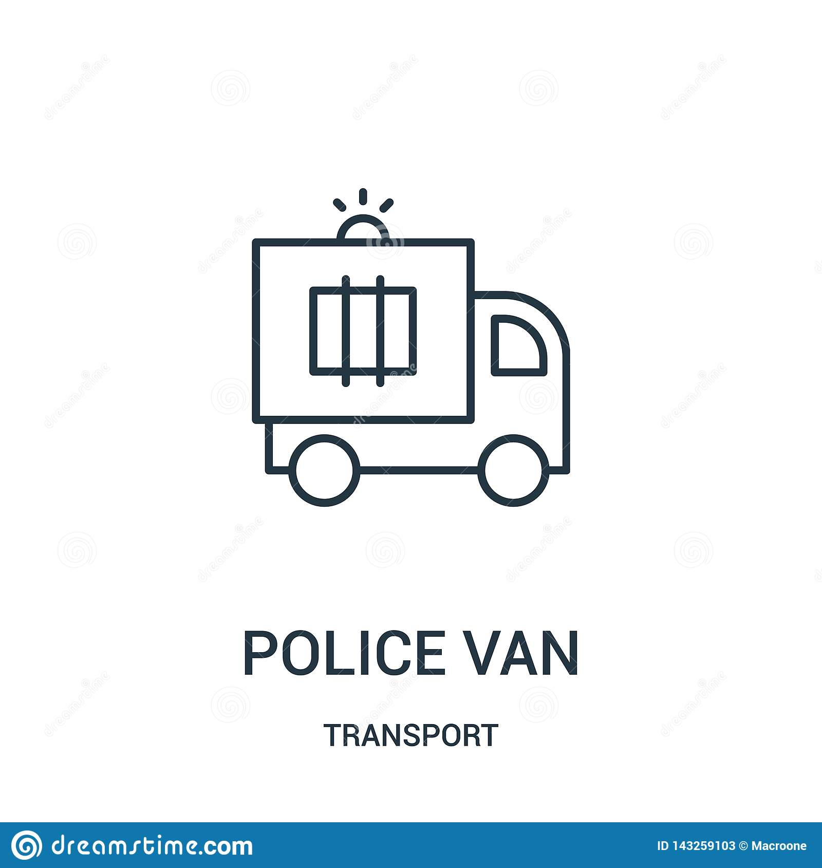 police van icon vector from transport collection. Thin line police van outline icon vector illustration