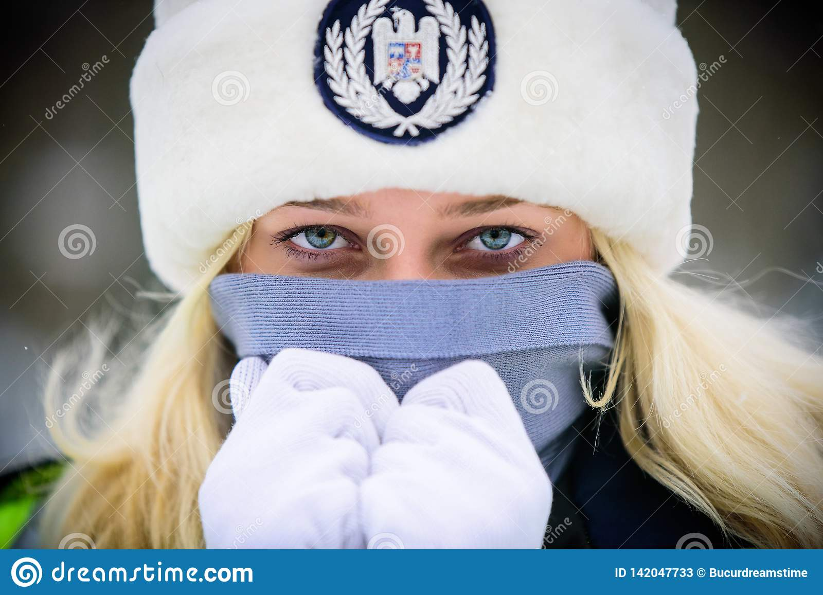 Police woman in winter time